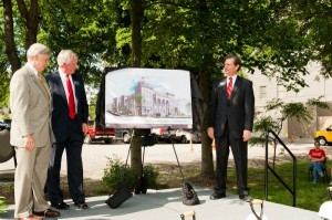 NAMES unveil renderings of the new Wedgewood Academic Building at the groundbreaking ceremony on May 4.