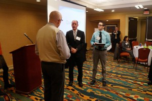 Belmont DNP student James Winegart (right) participates in a role-playing exercise designed to help students communicate effectively with legislators.