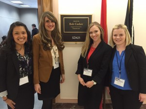 Pictured are DNP students Jennifer Jaramillo, Kathryn Dambrino, Danielle Voss, and Kristen Allen as they wait for a meeting in Senator Bob Corker's office.