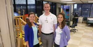 Elise Shepart, P.T., DPT, left, David Jennings, P.T., DPT, and Natalie Berra, P.T., are taking part in Vanderbilt's new specialized Physical Therapy residency programs. Shepart and Jennings are graduates of Belmont's DPT program. (photo by Anne Rayner)
