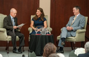 Pictured (l-r) are Scott Hamilton, Melinda Gates and former Senator Bill Frist